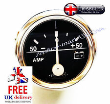 "50-0-50 BAR VINTAGE  CHROME AMMETER AMP METER GUAGE CLOCK  52MM 2""DIA (M614-A"