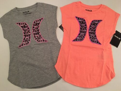 Hurley Girls Logo Tee T Shirt Top Size Small Medium Extra Large Grey Coral 8 10
