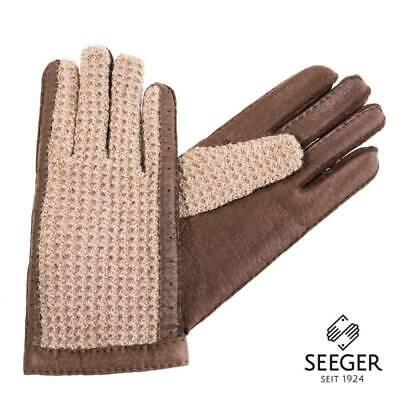 Aus Dem Ausland Importiert Original Karlsbader Handschuh Mit Pecary Leder Und Strickhände Aus Wolle, 7,5