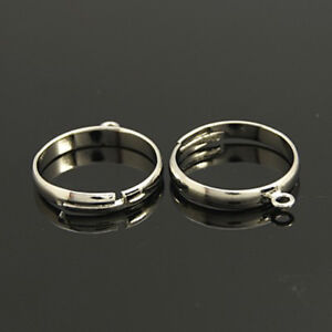 Silver Plated Adjustable Brass Loop Ring Blanks Jewellery RB-7