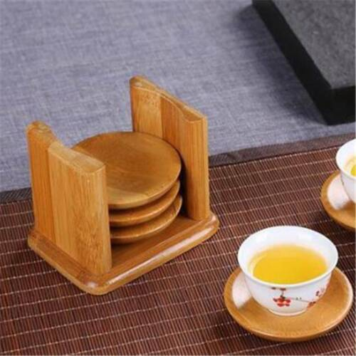 Coasters Square Bamboo Coasters Set of 6 Coasters With Holder Home Decor LG