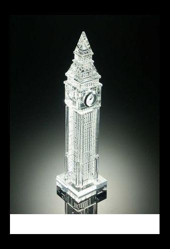 Big Ben + Uhr, London, Bleikristall geschliffen, Dekoration, Geschenk, England