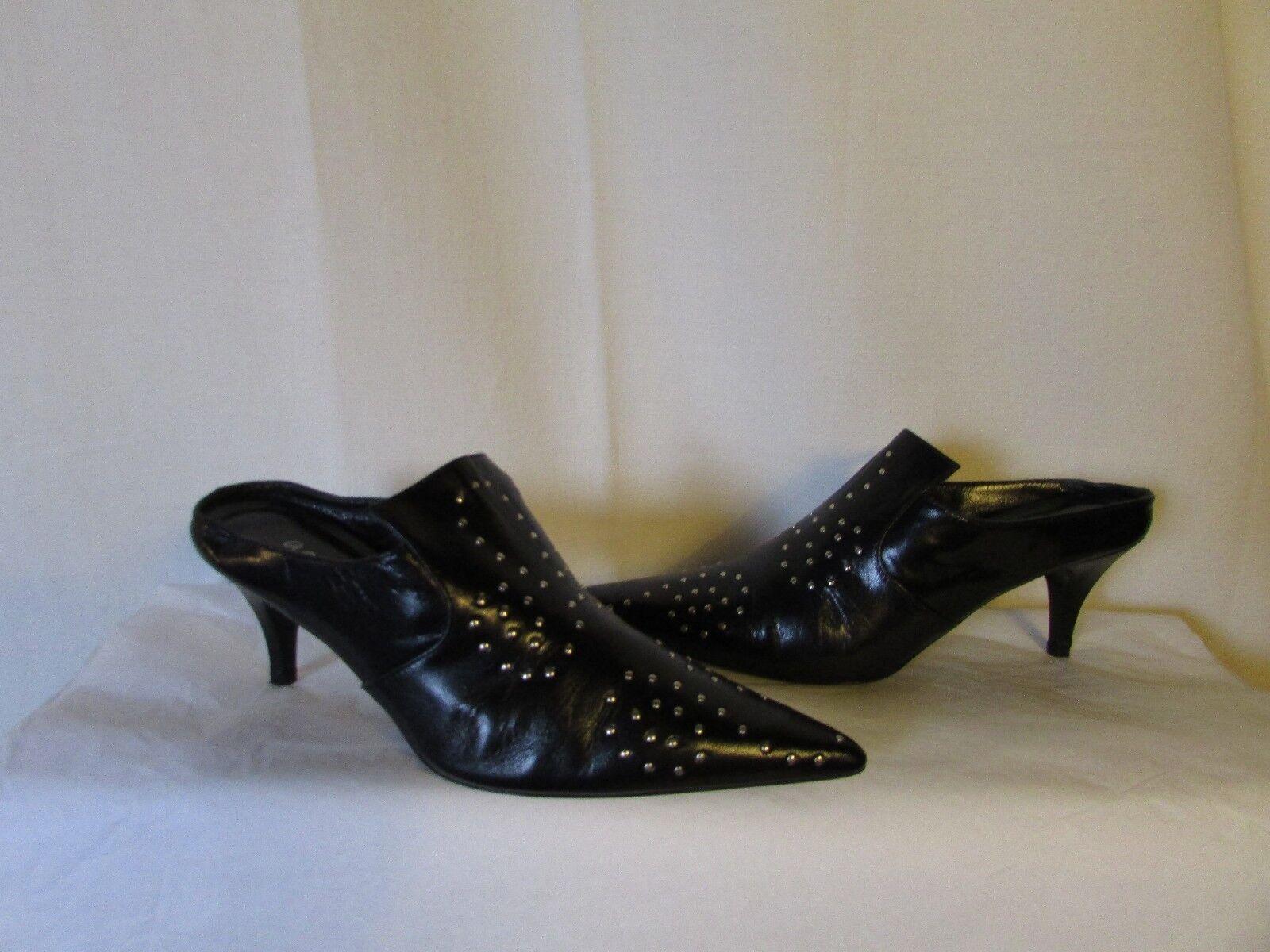 Sandales escarpins AGNES B cuir noir clouté 38
