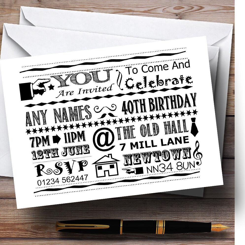 Cool diverdeido Tiza tipografía blancoo Negro Personalizado Fiesta De Cumpleaños Invitaciones