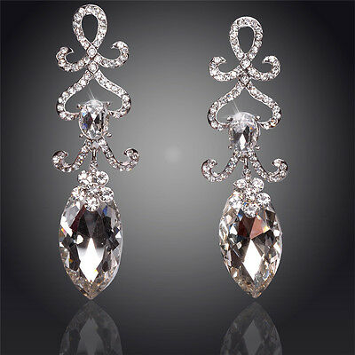 18K Silver Plated Crystal Clear Austrian Drop Women Earrings Christmas Gift UK