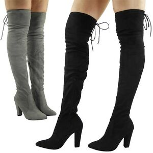 Womens-Ladies-Thigh-High-Over-The-Knee-Party-Faux-Suede-Stretch-Boots-Shoes-Size