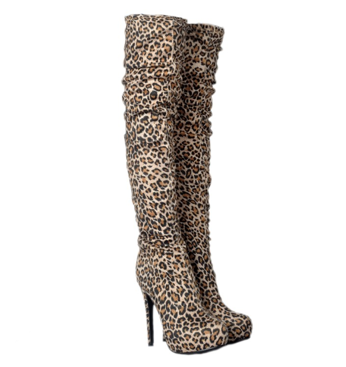 Womens Leopard Pattern Pointy Toe Stilettos Knee High Boots High High High Heel shoes 9a89ef
