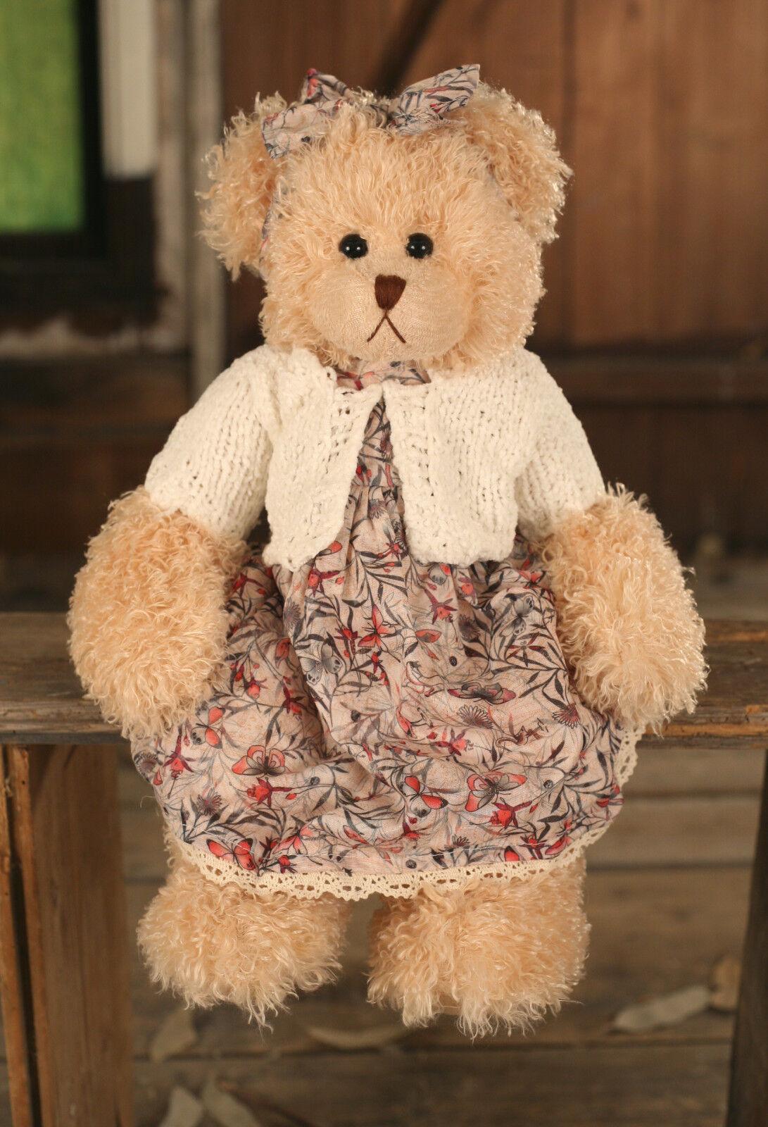 Teddy Bear 'Celine' Settler Bears Handmade Silky Dress Collectable Gift 38cms