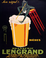 Poster Brasserie Lengrand Brewery Fun Frog Drinking Beer Vintage Repro Free S/h
