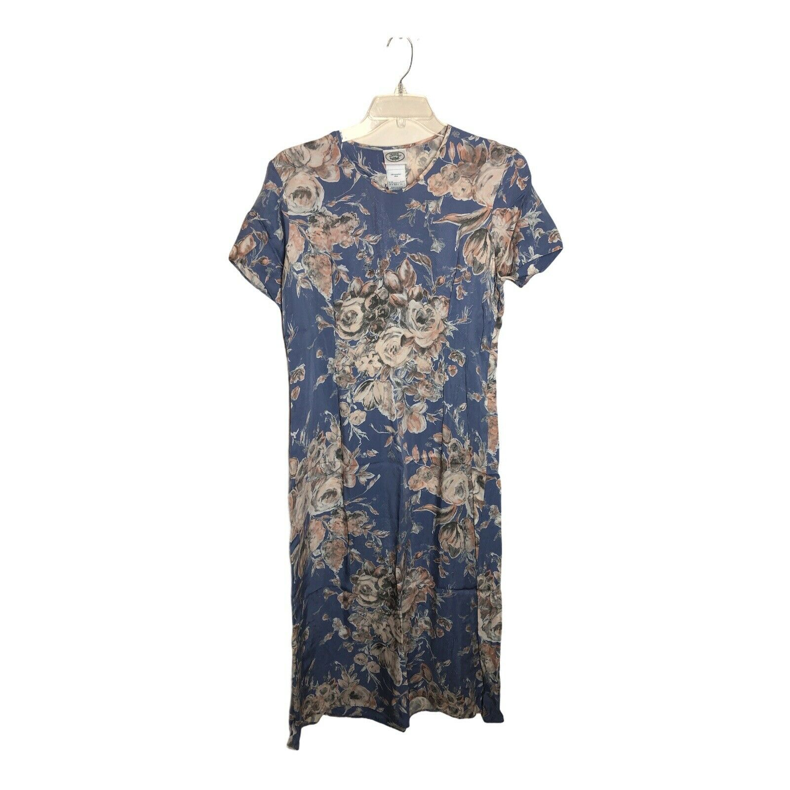 Vtg Laura Ashley Floral Dress Blue Size US 12 Cot… - image 1