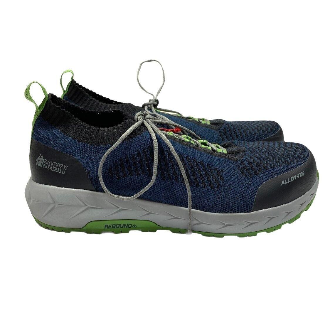 Rocky boots brand alloy toe athletic shoes men's 9.5 blue knit lace up euc