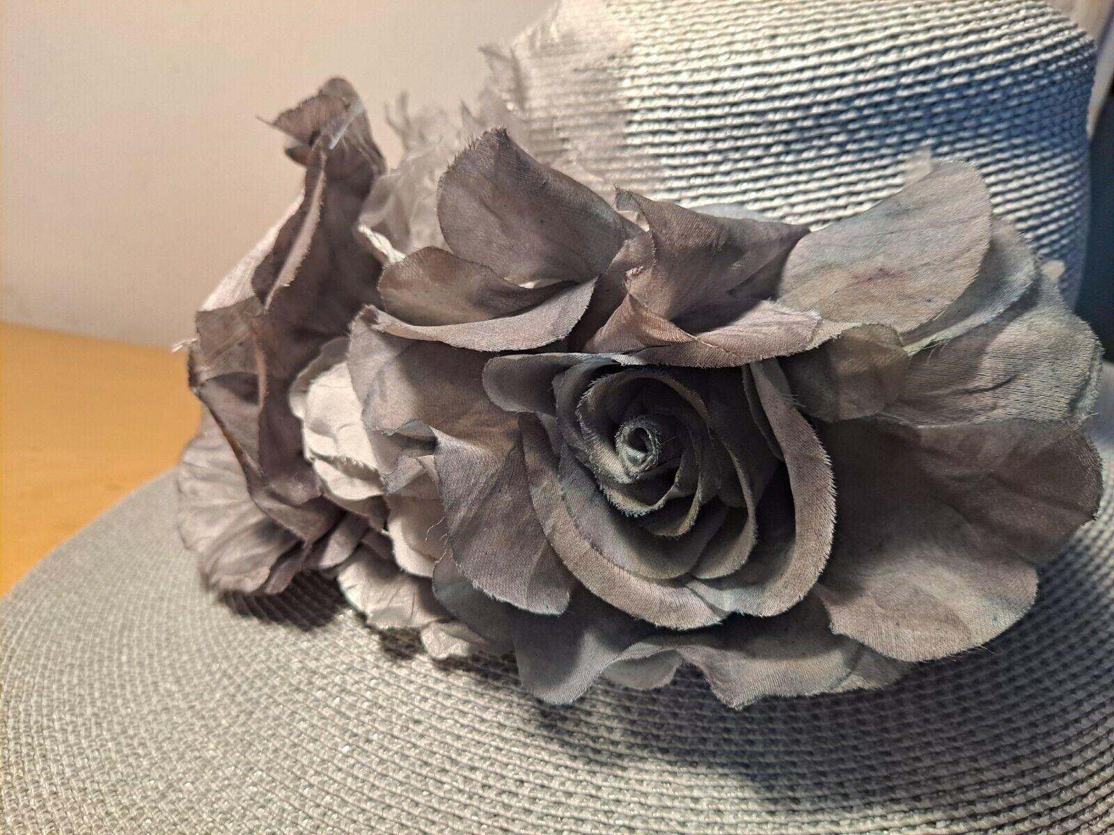 Vtg Patricia Underwood Pale Aqua Straw Hat/Gray S… - image 7
