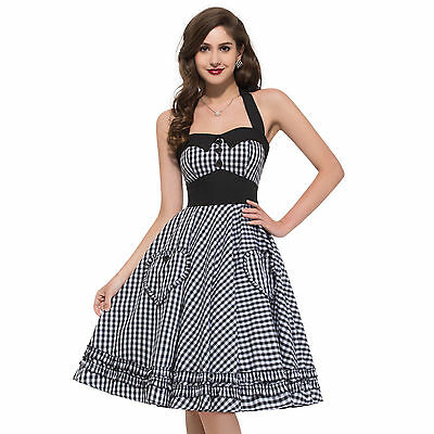 Vintage Style 1950s Pinup Evening Party Housewife Swing Prom Dress