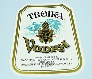 Troika-Vodka-Wodka-Flaschen-Etikett-USA-1940er-Bottle-Label-Flaschenetikett