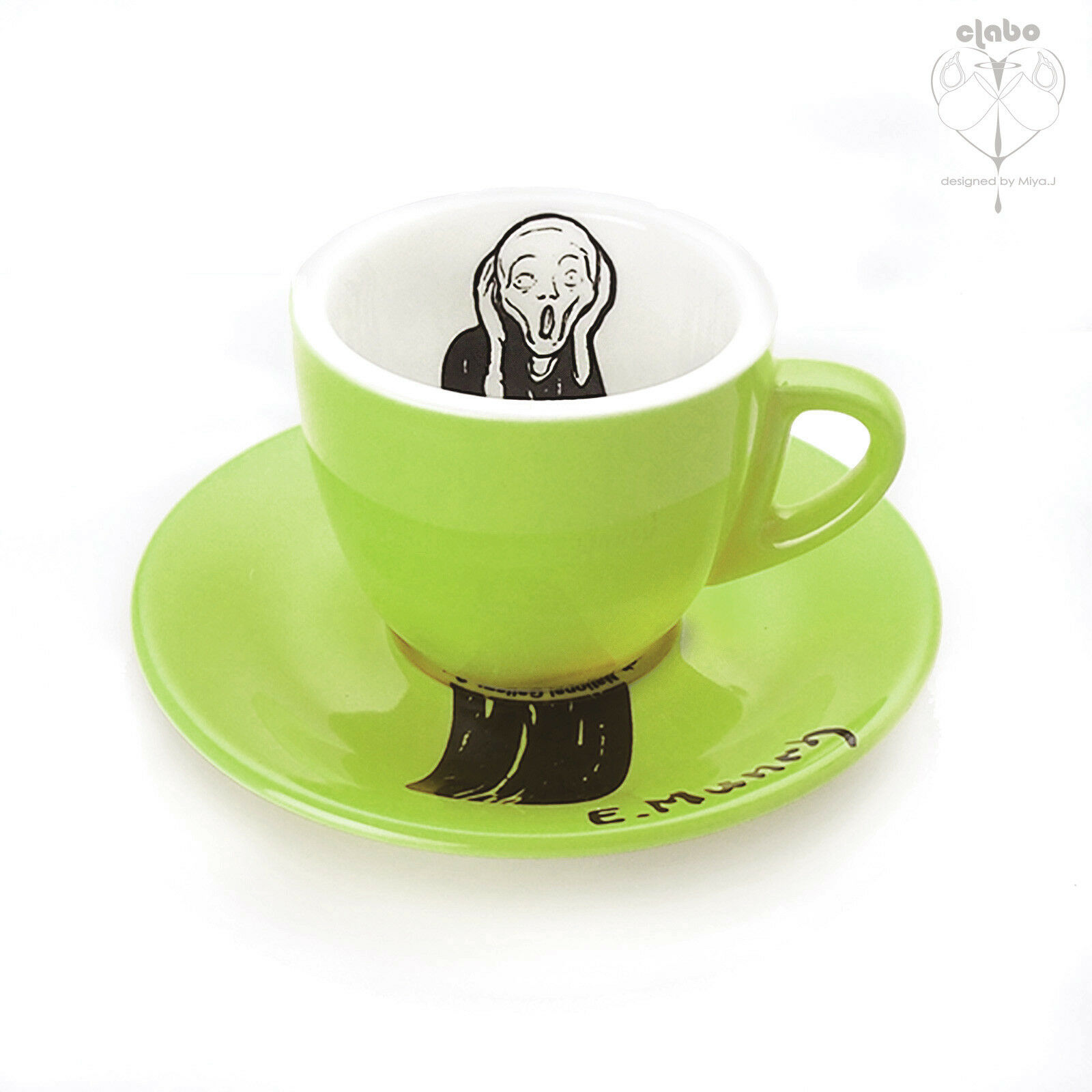 Edvard Munch Scream Painting Art Gift Green 1oz Espresso Small Cup & Saucer Set