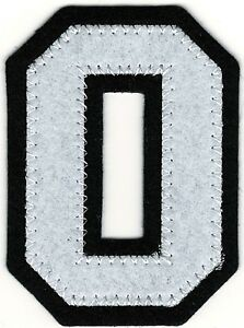 2 1 2 Tall White Black Block Varsity Letterman S Letter O Number 0