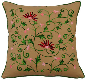 S4Sassy Floral Embroidered Pillow Brown Decorative Square Cotton Cushion Cover