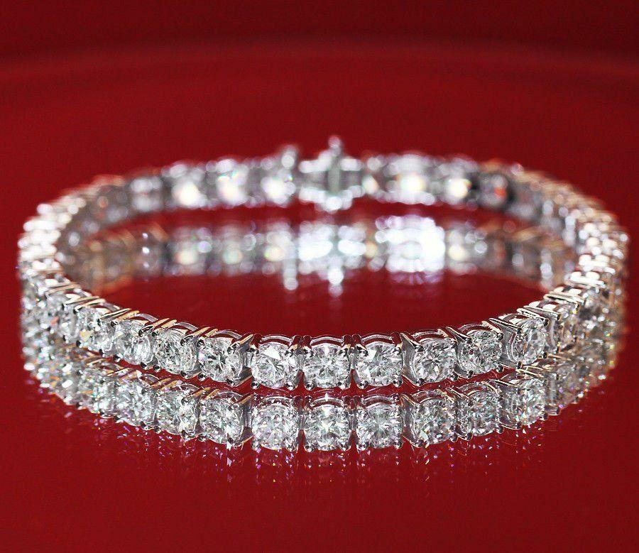10 Carat Ct Round Cut Diamond Tennis Bracelet 14k White gold Over 7.25