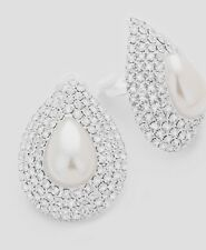 "1.5"" Big Clip On Stud Pearl White Silver Clear Crystal Rhinestone Earrings"