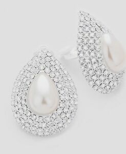 White Pearl Tear Drop Crystal Rhinestone Necklace Clip Earrings Fashion Jewelry