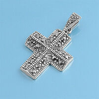Cross With Marcasite Pendant Sterling Silver Vintage Style Catholic Jewelry 33mm