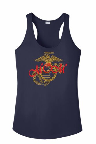 USMC EGA Marine Corp Mom Posi Charge Competitor Racer Back Tank Women Gift XS-4X