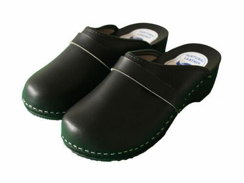 Womens Hand Made Clogs Ladies Wooden Sole 100/% Natural Leather Upper 3 4 5 6 7 8