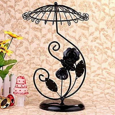 Black Metal Rose Umbrella Necklace Jewelry Display Stand Holder 13x8""