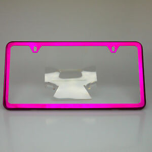 Slim License Plate Cover Frame Holder 2 Hole Stainless Steel Chrome Candy Pink Ebay