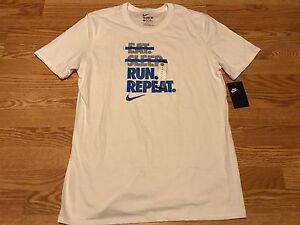 Nike Eat Sleep Run Repeat white gray blue swoosh t shirt S L XL XXL ... 33ad7215819d