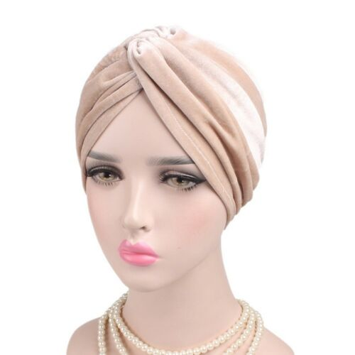 Damen Samt Yoga Turban Beanie Kopftuch Kopfbedeckung Haarband Kappe Ausgezeichne