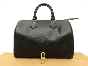 Louis Vuitton Authentic Epi Leather Black speedy 25 Purse Hand Bag ... 7d73120c52360