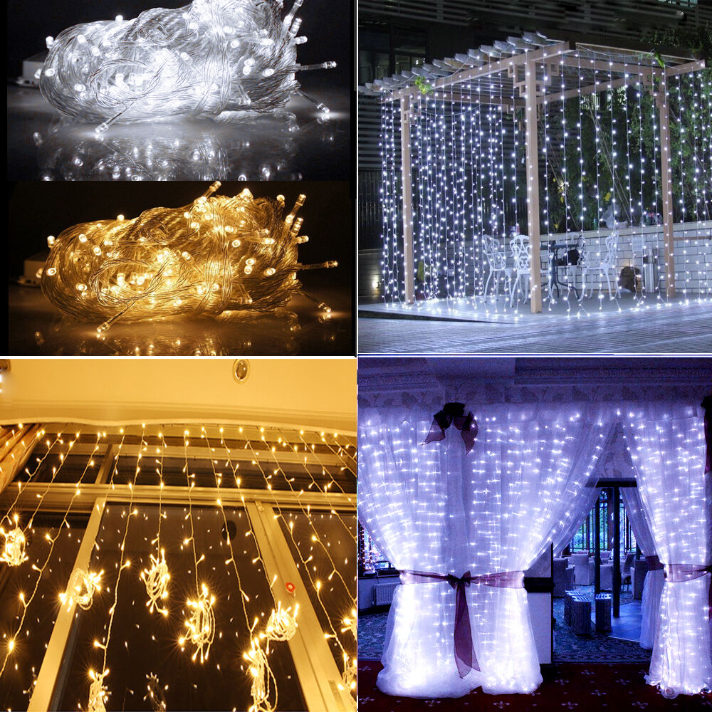Day Warm White 3m X 3m 300led In Outdoor Christmas String Wedding Curtain Light Ebay