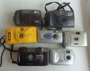 Bulk-Used-35mm-amp-Digital-Cameras-x-7-Vivitar-Kodak-Pentax-Haminex-Parts-Only