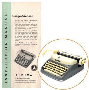 ALPINA TYPEWRITER INSTRUCTION MANUAL Antique N24 SK24 SK33 DT33 Senior Vtg