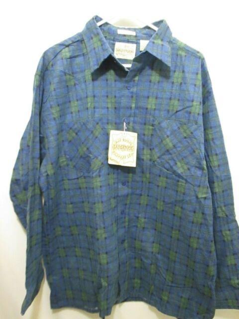 Men/'s Blue Plaid Shirt Blue Button Down Saugatuck Drygoods Size Medium