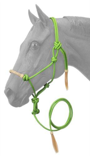 Nylon Rope Halter Lead with Horse Hair Tassel Rawhide Noseband