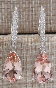 Polished-Women-Morganite-Sapphire-Wedding-Party-Jewelry-Drop-Dangle-Earrings