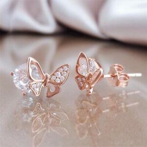 Fashion-Women-CZ-Butterfly-Stud-Earrings-Rose-Gold-Wedding-Engagement-Jewelry