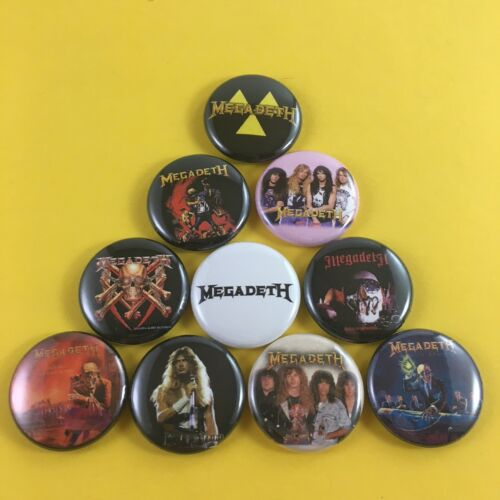 """MEGADETH 1/"""" PIN BUTTON lot Peace Sells Rust in Peace Dave Mustaine"""