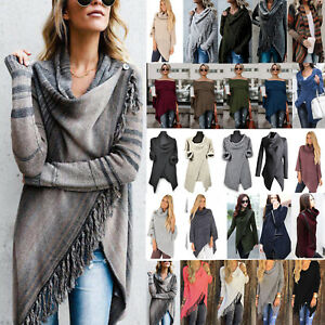 Women-Long-Sleeve-Wrap-Jumper-Sweater-Cardigan-Tassel-Shawl-Top-Winter-Warm-Coat