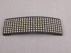 "Black Gold tone studded dot stud hair clip snap barrette accessory 3 3/16"" long"