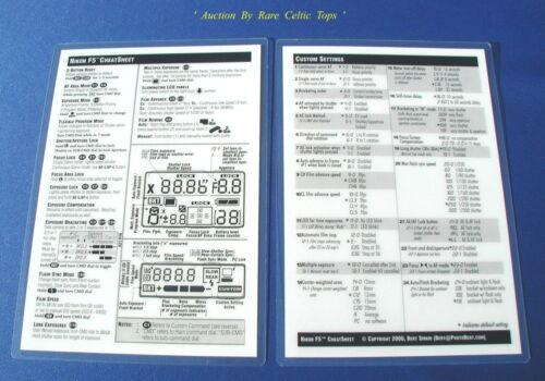 New /' Nikon F5 /' Double Sided Cheat Sheet Laminated