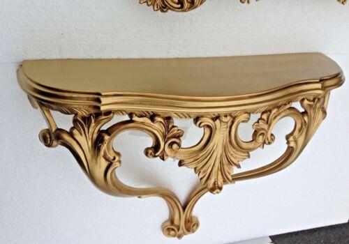 Console applique murale antique noir or baroque table