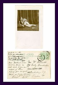 RISQUE NUDE WOMAN SMOKING REAL PHOTO POSTCARD POSTED 1907 WITHIN ENGLAND