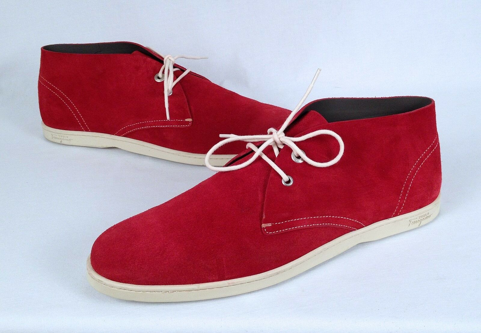 Salvatore Ferragamo Nautical Chukka Boot- Red Suede- Size 12 D  $650  (H6)