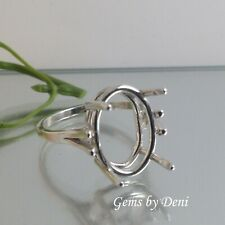 (7x5-10x8mm) Oval Wire Mount Sterling Silver Ring Setting (Finger Size 5-8)