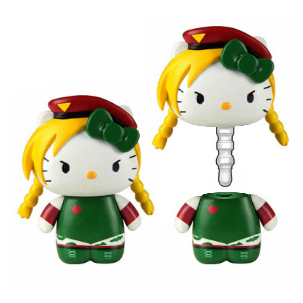 Hello Kitty Street Fighter Cammy Mobile Plug Charm Figure NEW Toys Toynami