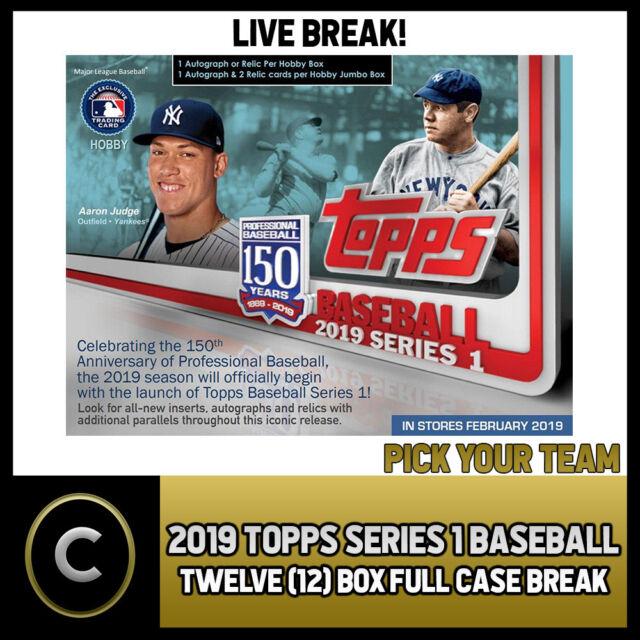 2019 TOPPS SERIES 1 BASEBALL - 12 BOX (FULL CASE) BREAK #A100 - PICK YOUR TEAM