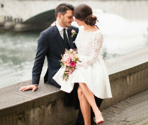Details about Lace Satin Short Wedding Dresses Knee-Length Bridal Gowns  with Long Sleeves 2019